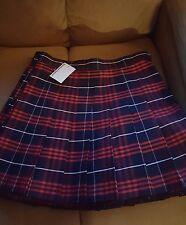 American Apparel Plaid Matilda Navy Blue Red White Pleated Tennis Skirt Small