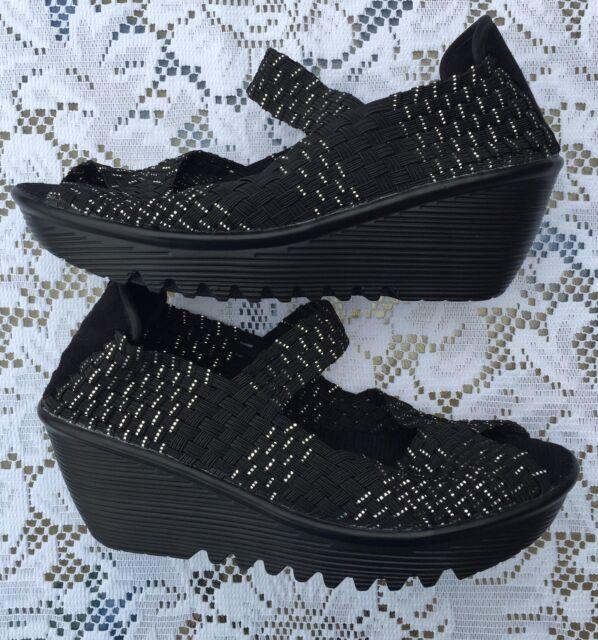 6f44c9d12e76 Women s BERNIE MEV Hallie Black Woven Wedge Heel Sandals Shoes Sz 38 7-7.5