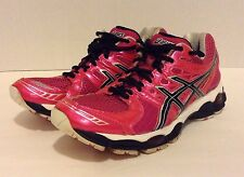 Women's Asics Pink & Black Gel-Nimbus 14 T291N Running Athletic Shoes (Sz:8.5)
