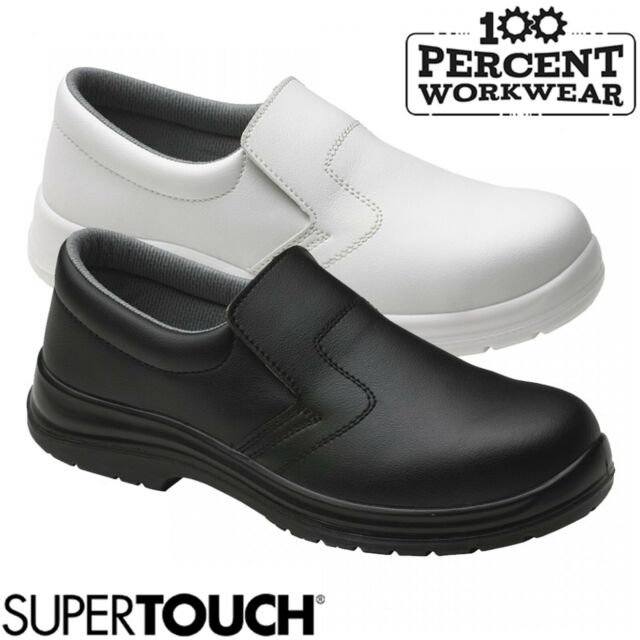 Mens Womens White Slip on Steel Toe Cap Safety Work Boots Shoes Food Medical Lab