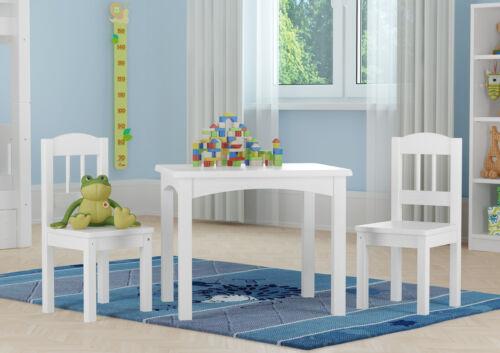 Siège enfant groupe en blanc ou couleur de bois massif table et 2 chaises v-90.70-01