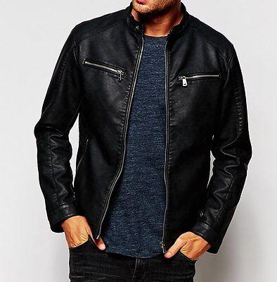Leather Jacket mens New Black Soft Lambskin Slim Biker Bomber Coat S M L XL 2XL