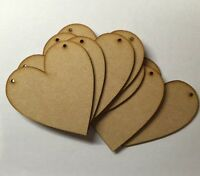 Wooden 100mm(10cm) MDF Hearts blank craft shapes signs with holes