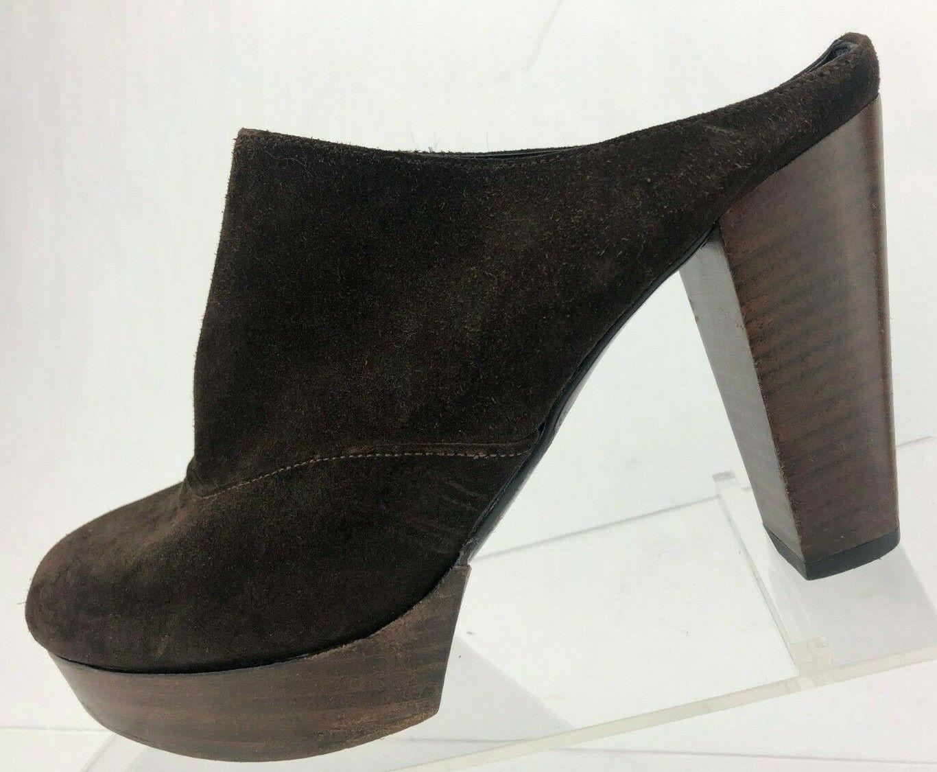 vendite dirette della fabbrica Robert Clergerie Mules Heels Closed Toe Toe Toe Marrone Suede Slides Platform donna 6.5 B  grande sconto