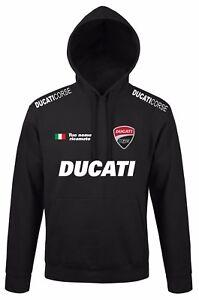 Pull A Capuche Ducati Avec Broderie Nom Personnalise Blanc Noir