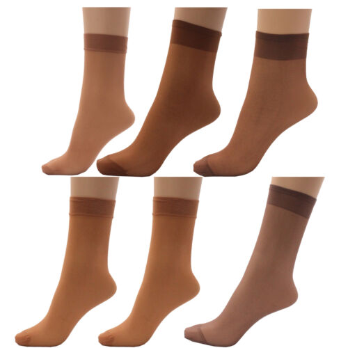 3 x Ladies Women 100/% Nylon 15 Denier Anklet Pop Socks with Comfort Top