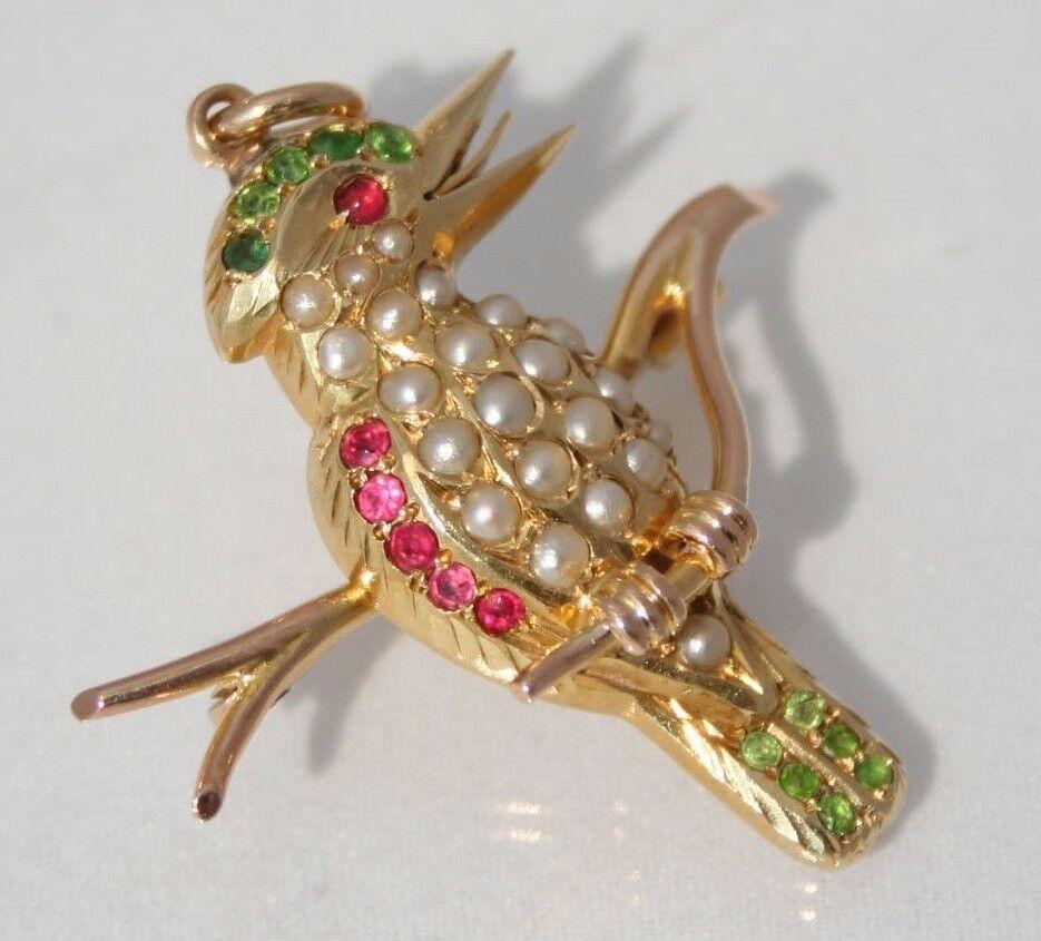 Superb Antique Australian 15ct gold Ruby Pearl Garnet Kookaburra Brooch Pendant