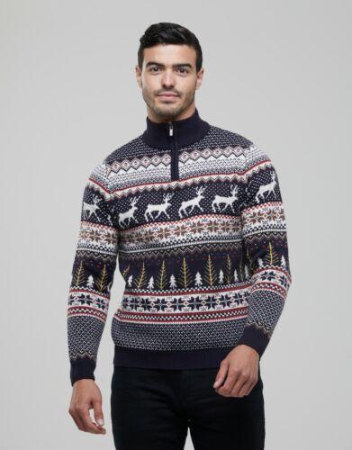 Mens Christmas Novelty Fair Isle Jumper 1//4 Zip Crew Neck Nordic Xmas Sweater