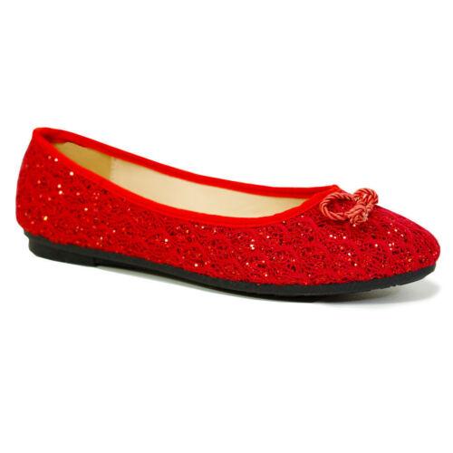 Nouveau Haut Plat Pompes Filles Paillettes Ballerine Dolly Chaussures de mariée Taille