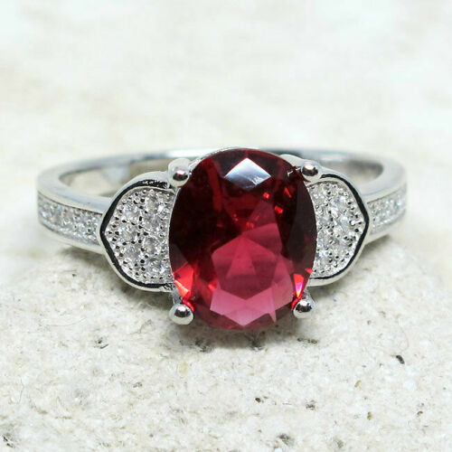 Magnifique 2.5 Ct ovale Rouge Rubis 925 Sterling Silver Ring Taille 5-10