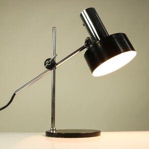 Kaiser-Tisch-Lese-Lampe-Gelenkarm-Leuchte-schwarz-amp-chrom-Vintage-60er-Jahre