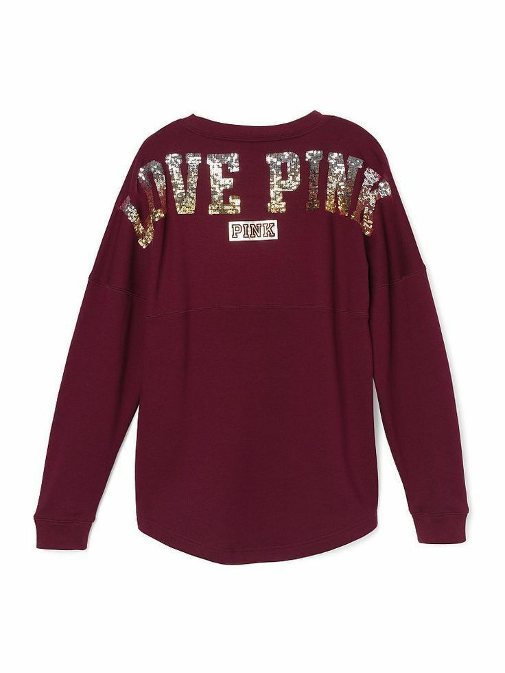 VICTORIAS SECRET PINK SEQUIN BLING VARSITY CREW RUSSIAN RUBY SMALL