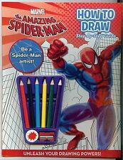 Marvel Spider Man como dibujar Libro & Lápiz Lápices de Colores Kit Niños Niños Diversión Aprenda