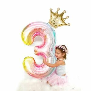 Princess-Birthday-Party-Foil-Balloons-Air-Kids-Girl-Year-Number-Ballon-Crown-Top