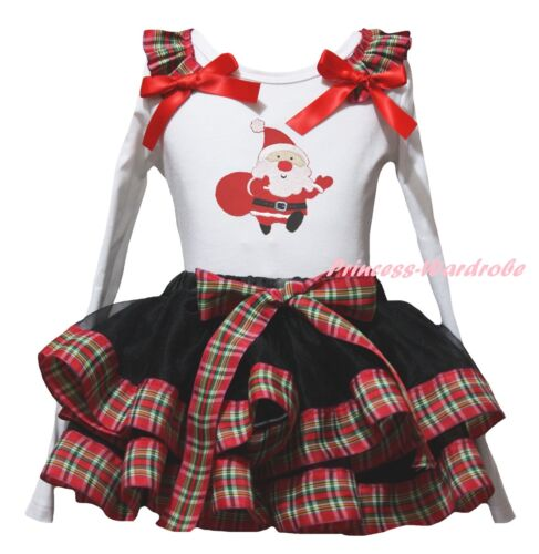 Xmas Santa Claus White Top Red Green Check Black Satin Trim Skirt Girl Set NB-8Y