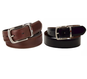 Tommy-Hilfiger-New-Men-039-s-Two-Tone-Reversible-Smooth-Faux-Leather-Dress-Belt
