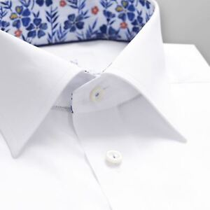 943638070fb75f Image is loading ETON-WHITE-SHIRT-WITH-FLORAL-TRIM-DETAILS