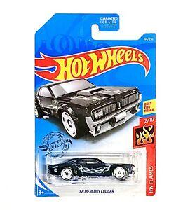 Hot Wheels Black Ford 1968 Mercury Cougar Kids Toy Cars Vehicle HW Flames 1:64