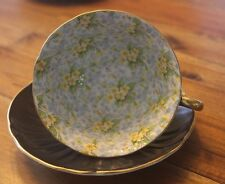 Shelley Black Oleander Primrose Chintz Blue Yellow Flowers Teacup Tea Cup Saucer
