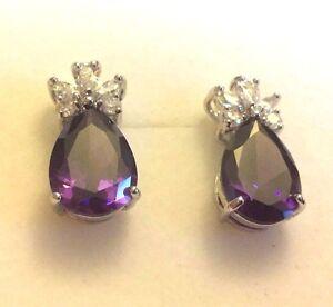 E02-Purple-Pear-Amethyst-Silver-White-Gold-GF-Stud-Earrings-BOXED-Plum-UK