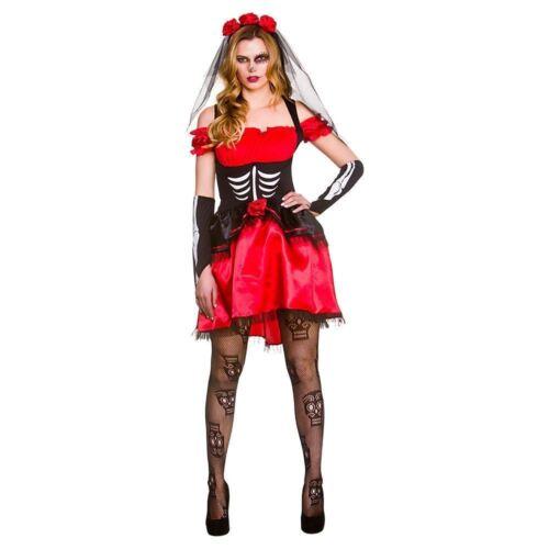 Ladies giorno dei morti Senorita Rosso Halloween Dolci Skully Costume