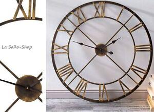 wanduhr messing xxl uhr 80 cm standuhr r mische ziffern metall wanduhr ebay. Black Bedroom Furniture Sets. Home Design Ideas