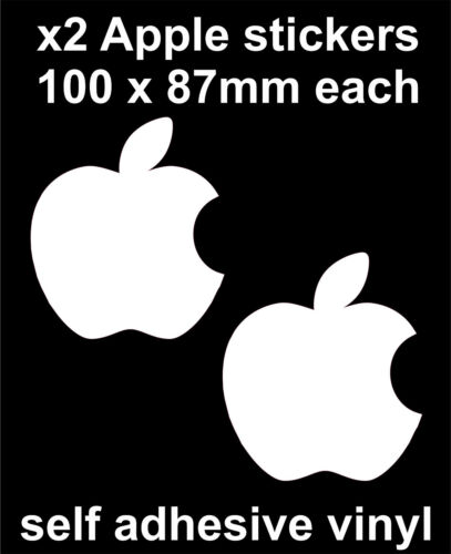 2 x white apple logo stickers office macbook laptop toolbox car decal