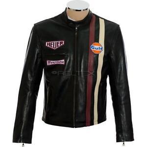 92323e0ab Details about Original Steve McQueen BLACK LeMans Grand Prix Biker Genuine  Soft Leather Jacket