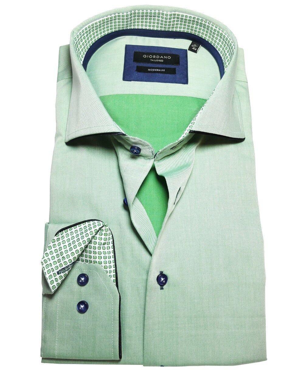 Giordano Modern Fit Geschäft Langarmhemd in grünmelange blau Gr. M bis 3XL