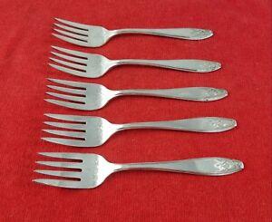 5-Salad-Forks-Princess-by-Lady-Doris-International-Silverplate-Flatware-5-5-8-034