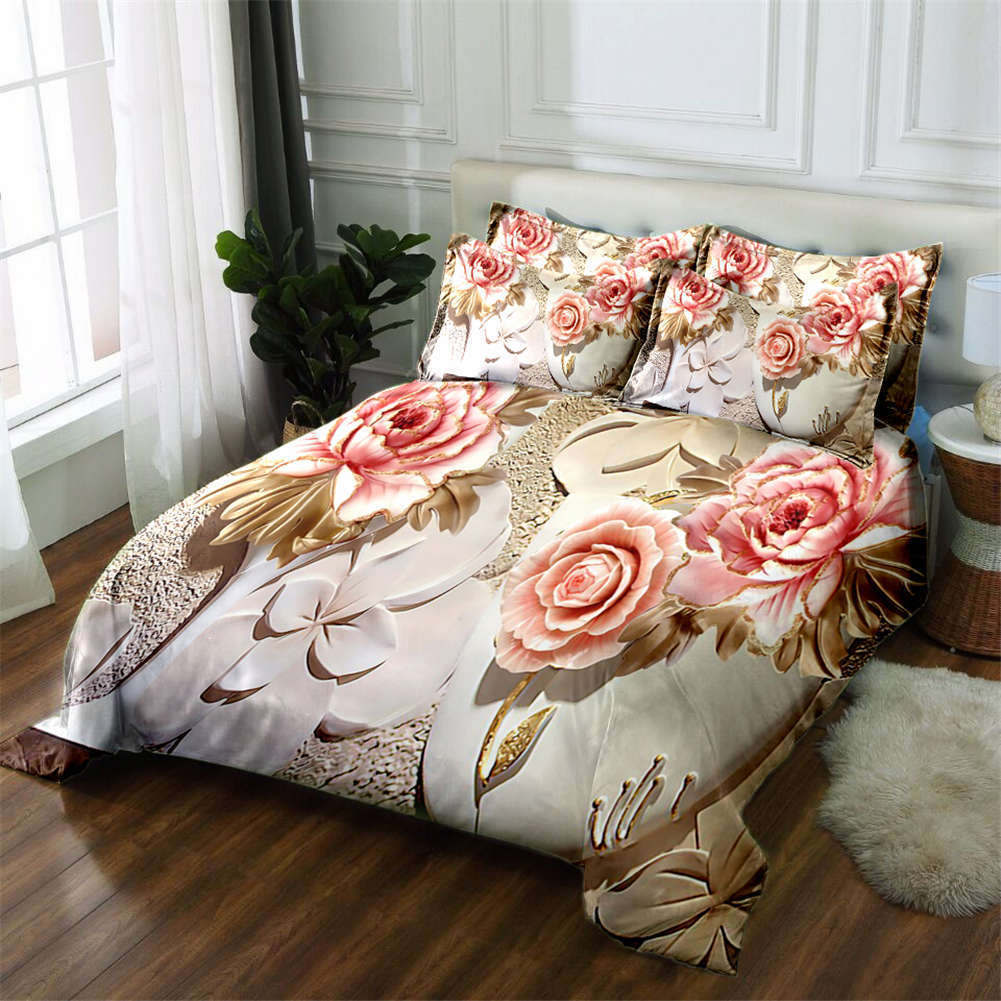 Chocolate Peony 3D Printing Duvet Quilt Doona Covers Pillow Case Bedding Sets