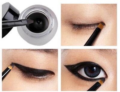 fashion Waterproof Black Eye Liner Eyeliner Shadow Gel Makeup Cosmetic+Brush L7