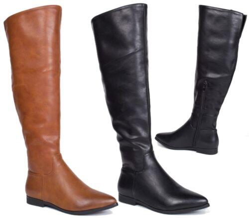 WOMEN/'S FAUX LEATHER RIDER KNEE HIGH LOW BLOCK HEEL ZIP BIKER POINTY BOOTS 3-8