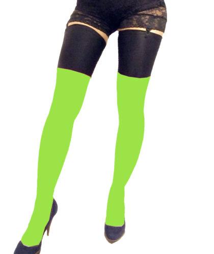 Opaque Neon Verde Calze Spandex Top Nero XS S M L XL XXL XXXL Tall