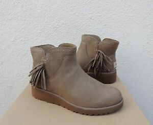 a8240441f73 Details about UGG CINDY SPRUCE LEATHER FRINGE WEDGE ANKLE BOOTS, US 11/ EUR  42 ~NIB