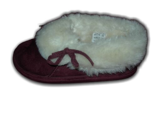 Ladies Winter warm lined Faux Fur slippers KALINDA Burgundy Navy Sizes 3-8