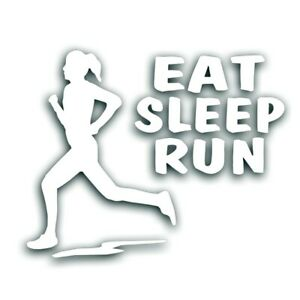 Eat Sleep Run Fille Femme Decal Pour Marathon Runner, Jogging Autocollant Blanc-afficher Le Titre D'origine