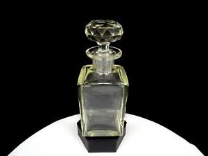 """ANTIQUE VICTORIAN CUT CRYSTAL PANELED NECK SQUARE 7 5/8"""" DECANTER & STOPPER 1850"""