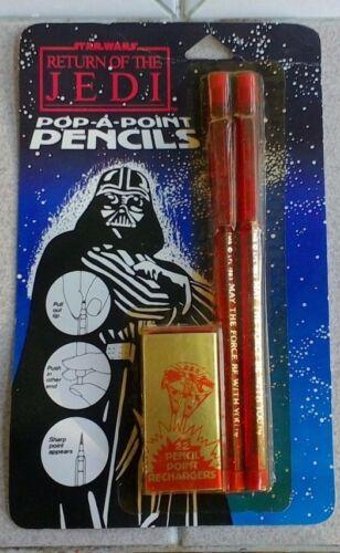 1983 Hasbro Star Wars return of the Jedi Pop-A-Point Pencils