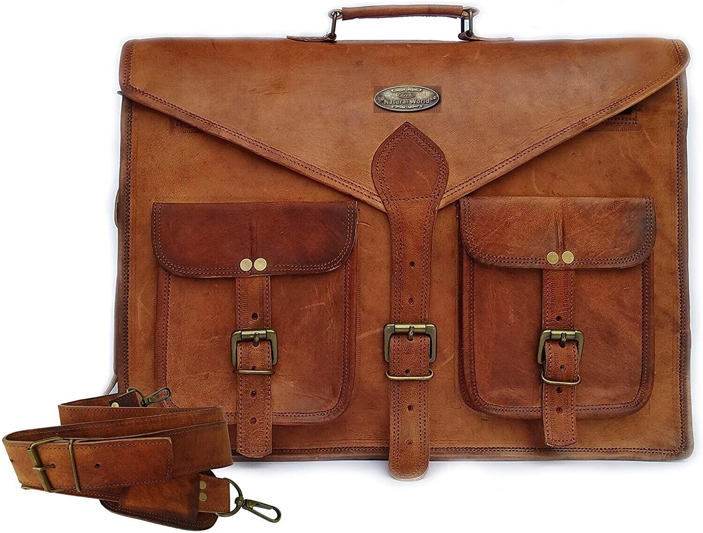 Women Genuine Vintage Brown Leather Messenger Bag Shoulder Laptop Bag Briefcase#