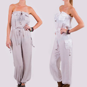 Silk-Cotton-Gray-White-Jumpsuit-Size-Small-Medium-Large-Brand-NEW-NWT