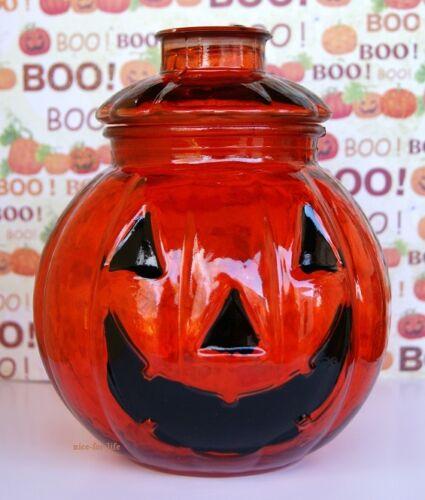 Kürbis Halloween Glas Dose Deckel Vorratsglas Bonboniere Kopf Gesicht Orange