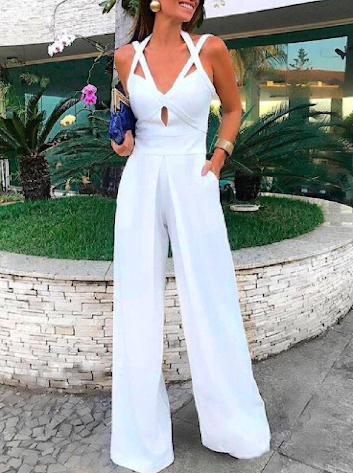 Tuta Pantaloni Casual Cerimonia Donna 11 Colori Woman Jampsuit Romper 660015 P