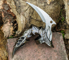 "5.5"" IRON REAVER STAINLESS STEEL SILVER BLACKENED FINGER CLAW FANTASY KNIFE"