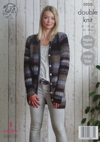 KNITTING PATTERN Ladies Long Sleeve Textured Cardigan /& Jacket DK King Cole 5020
