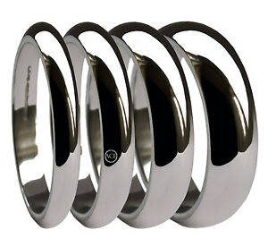 9ct White D Profile Shaped Wedding Band 2mm-10mm Heavy Weight.