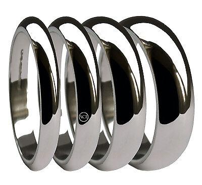 9ct White Gold D Shape Wedding Rings 2mm 3mm 4mm 5mm 6mm 8mm 10mm X Heavy Bands FüR Schnellen Versand