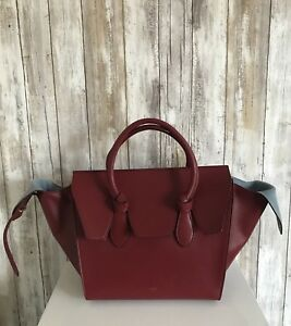 68aa28b95f  3600 Celine Tie Knot Tote Palmelato Leather Mini Burgundy Red Blue ...