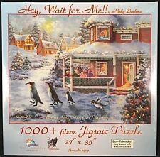 Hey Wait For Me 1000+ Piece Jigsaw Puzzle Nicky Boehme Christmas Penguin Scene