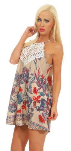 5454 Damen Folklore Kleid Minikleid Sommerkleid Tunika Häkel-Spitze Blumen
